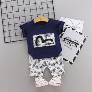 Boys 100% Cotton Summer Print Tee Shorts 2 piece Set