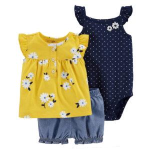 High Quality 100% Cotton Girls Beautiful 3pcs Shorts Set – Yellow and Blue