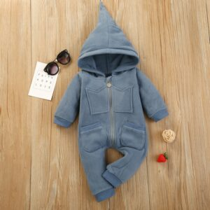 Baby Boy High Quality Solid Warm Blue Hooded Romper