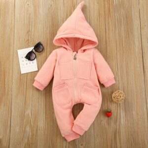 Baby Girl High Quality Solid Warm Pink Hooded Romper