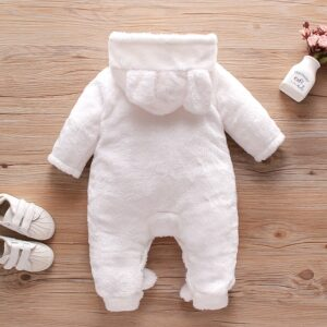Baby High Quality Solid Fleece Rabbit Hooded Romper