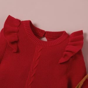 Baby Girl Flounced Solid Warm Red Kintted Dresses