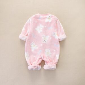 Baby Girl Warm Adorable Bear Fleece Pink Romper