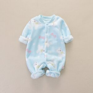 Baby Boy Warm Adorable Bear Fleece Romper
