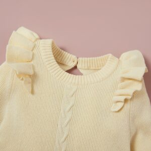 Baby Girl Flounced Solid Warm Kintted Dresses