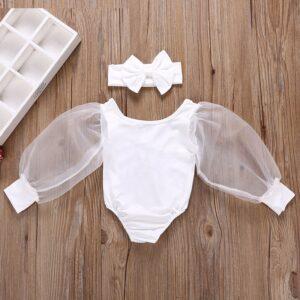 Baby Girls Mesh Fluffy Sleeve White Bodysuit with Headband