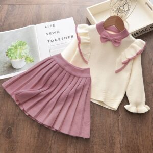Girl 2-piece Bowknot Flounced Knitted Warm Top and Pleated Skirt Set