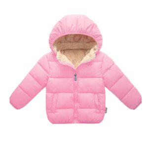 Baby/Toddler Girl Causal Fluff Solid Long-sleeve Hooded Zipper Coat