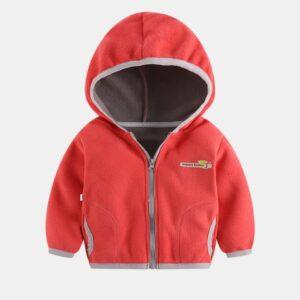 Toddler Causal Fleece Solid Long-sleeve Hooded Zipper Jacket