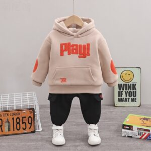 Winter Warm Double Layer Hooded Boy Suit 2pcs Set