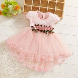 Formal Pink Frocks Party Lovely Princess Little Girl Dress
