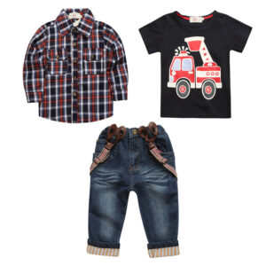 Tee+ Shirt Denim Pants 3pcs Set