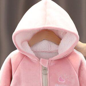 Baby Girl Winter Thick Velvet Long-sleeve Hooded Zipper Jacket