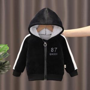 Baby Winter Thick Velvet Long-sleeve Hooded Zipper Jacket