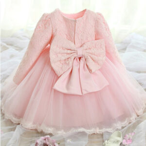 Formal Fashionable Party Little Girl Lace Dress with Bow