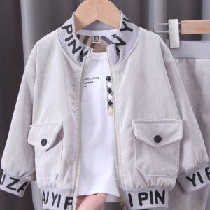 Grey Stylish Zip Jacket Boy Suit 3 piece Set