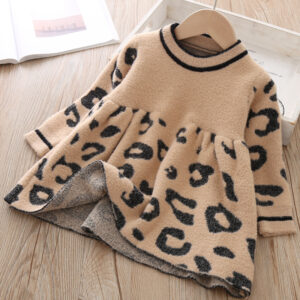 Baby Girl Flounced Solid Warm Leopard Brown Dress