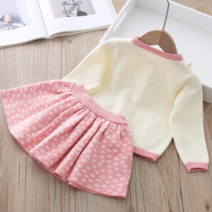 Girl 2pcs Set Knitted Warm White Top and Pink Skirt Set