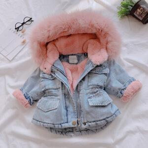 Girl Denim Winter Warm Hooded Jacket
