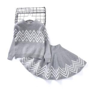 Girl 2pcs Set Flounced Knitted Warm Grey Top and Skirt Set