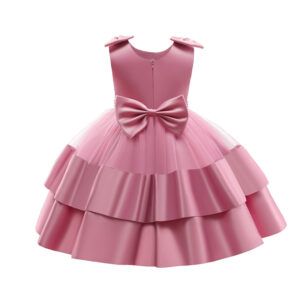 Formal Fashionable Baby Girl Party Birthday Elegant Princess Pink Dress with headband