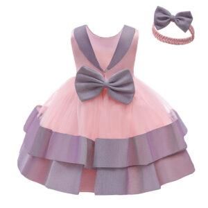 Formal Fashionable Baby Girl Party Birthday Elegant Princess Tutu Pink Shiny Dress with headband
