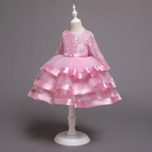 Long-Sleeved Flower Elegant Beaded Lace Formal Dress for Girl