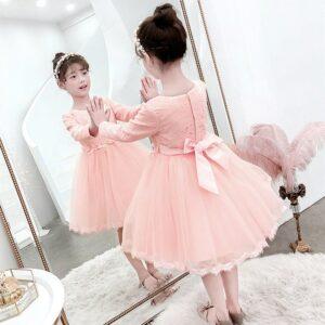 Autumn Long-Sleeved Flower Elegant Beaded Lace Formal Dress for Girl