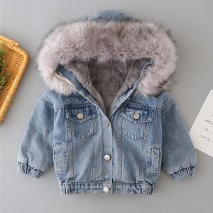 Denim Winter Warm Hooded Jacket
