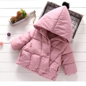 Girl Winter Warm Puffer Pink Hooded Jacket