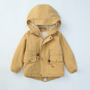 Boys Winter Fleece Outdoor Hooded Warm Windbreaker Coat